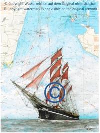 Kunstwerk / Zeichnung auf Seekarte
